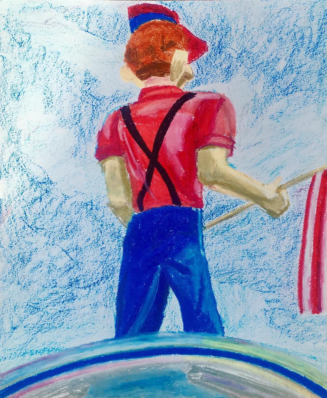 """Mini Golf, Oil Pastel on Paper, 14""""x17"""""""