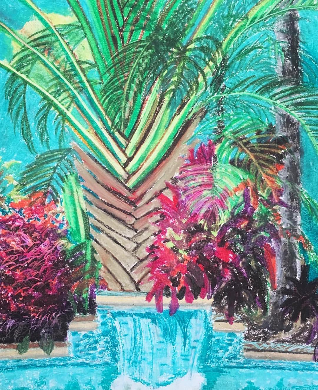 """Secret Pool II, Oil Pastel on Paper, 14""""x17"""""""