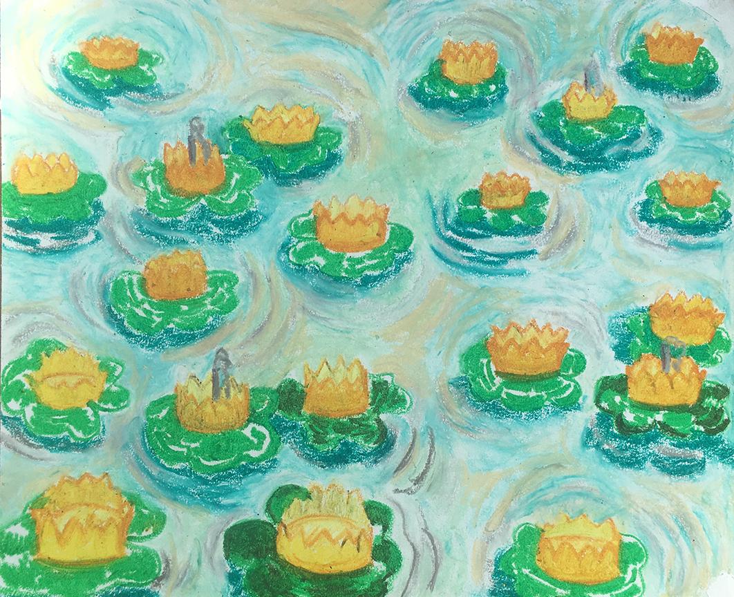 """Frog Bog, Oil Pastel on Paper, 14""""x17"""""""