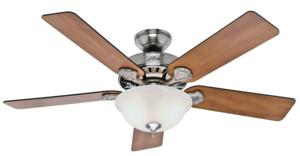 Hunter 52-inch Brushed Nickel Ceiling Fan w/Five Chestnut/Blackened Rosewood Blades & Glass Bowl Light Kit