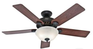 Hunter 52-inch 5-Blade Single Light Five Minute Ceiling Fan, New Bronze w/Dark Cherry / Medium Oak Blades