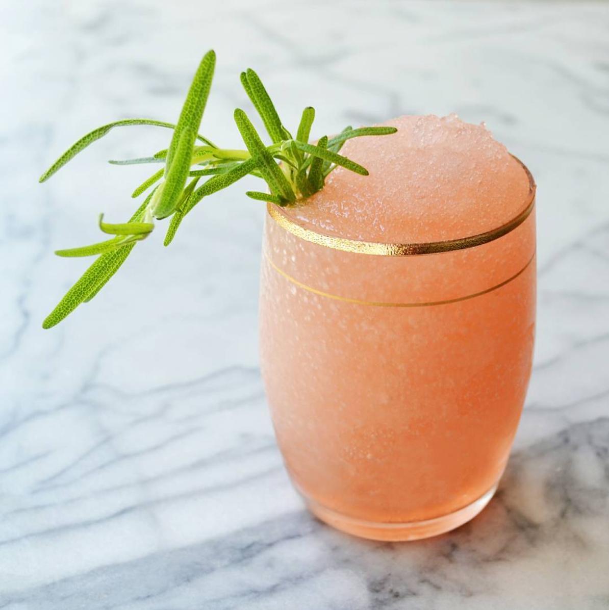 Frosé mary    1 bottle of rosé   Ice   3 oz strawberry simple syrup    3 oz freshly-squeezed lemon juice   Fresh rosemary garnish