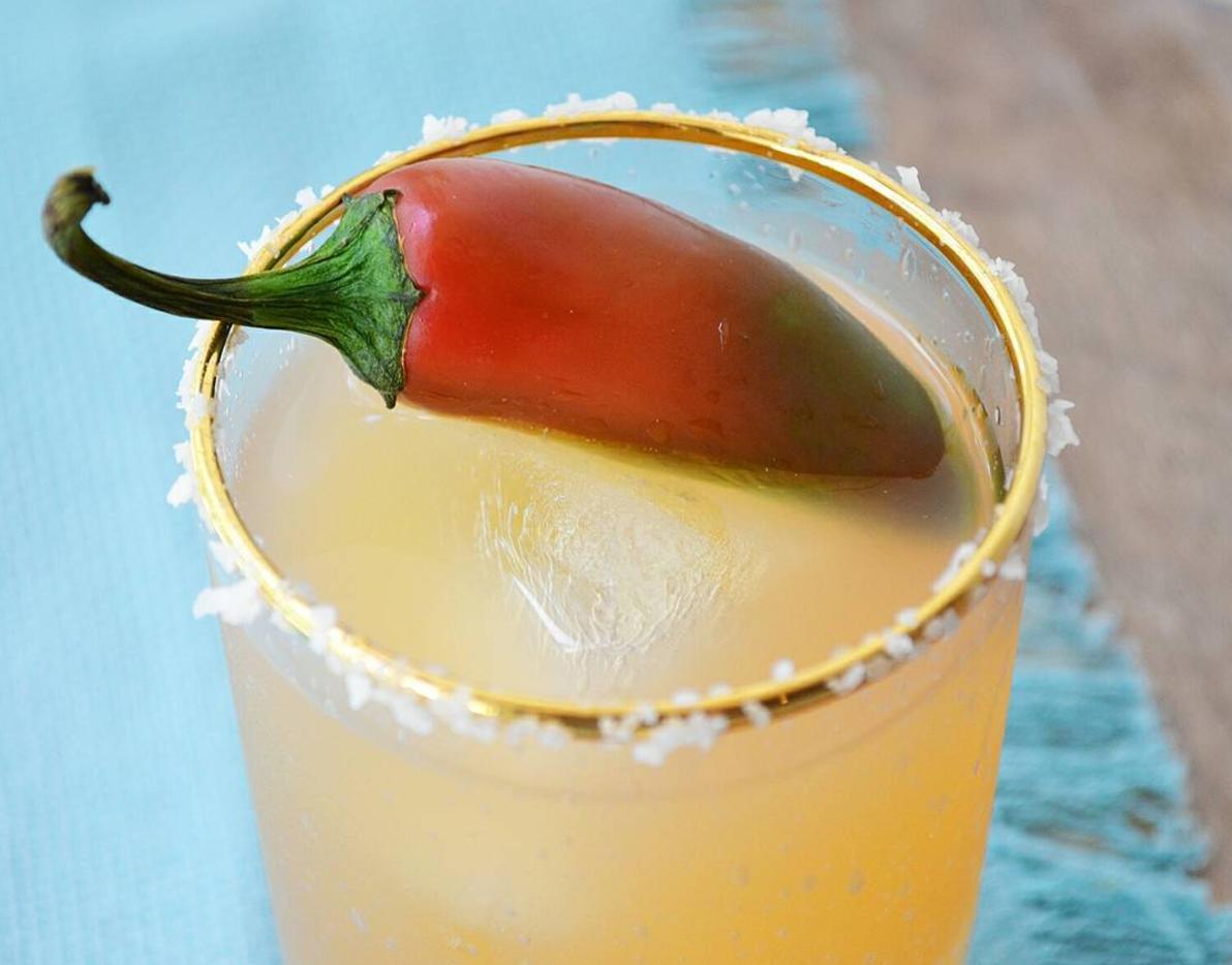 Paloma-Oh-Mah-Gawd    2 oz silver tequila   3 oz grapefruit juice   1 oz lime juice   ½ oz maple simple syrup   Sparkling water   1 jalapeños (for muddling)   Sea salt rim