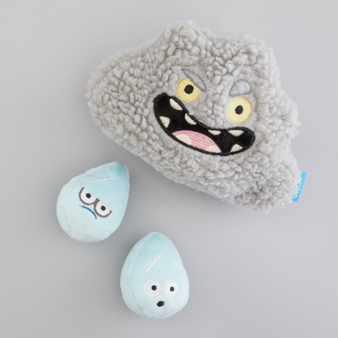 RAIN OF TERROR (value: $14 USD) - Fuzzy cloud toy that crinkles + squeaky raindrops hidden inside!