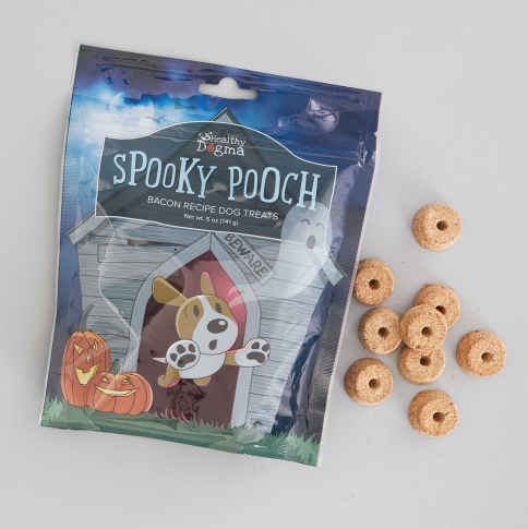 SPOOKY POOCH BACON TREATS (value: $8 USD) - Made in the USA. Ingredients:Barley, Bacon, Oats, Peas, Tomato Pomace, Canola Oil, Cranberry, Carrot, Sweet Potato, Celery, Beets, Parsley, Lettuce, Watercress.