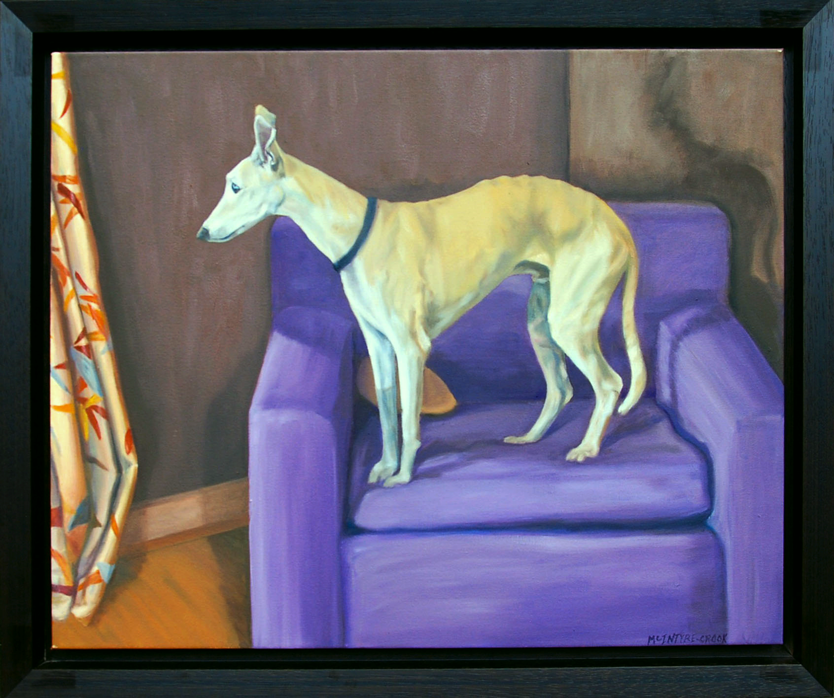 "Dog on Chair  oil on canvass; 24"" x 30""; 2012  I like the narrative of this arrangement: the dog sees something out of the window, his muscles are tense."