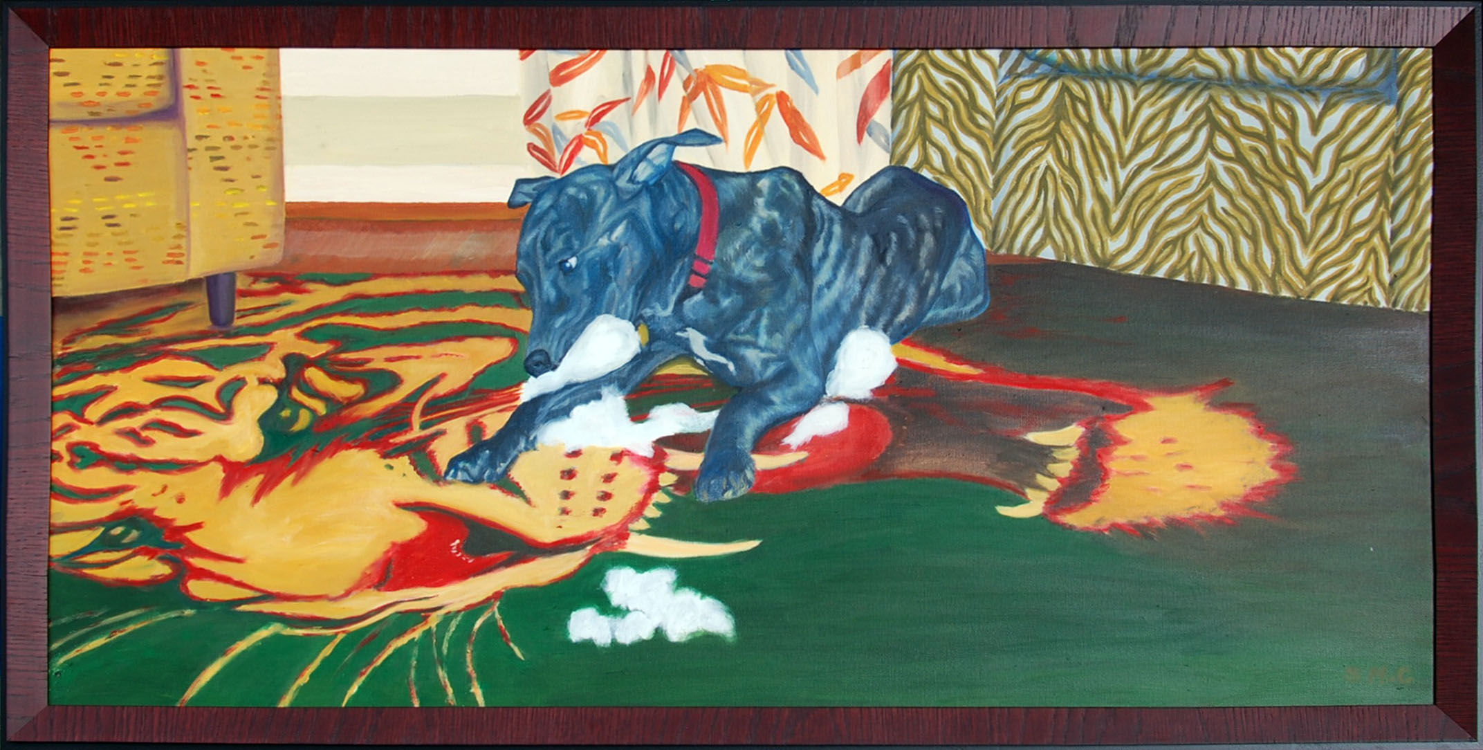 "Dog vs. Tiger  oil on canvass; 20""x40""; 2013  As in a boxing ring, the tiger has his 'corner' with the chair of similar colors. The dog's chair has a similar brindle pattern. The surroundings are in full color while the dog is mainly black and white or gray hues."
