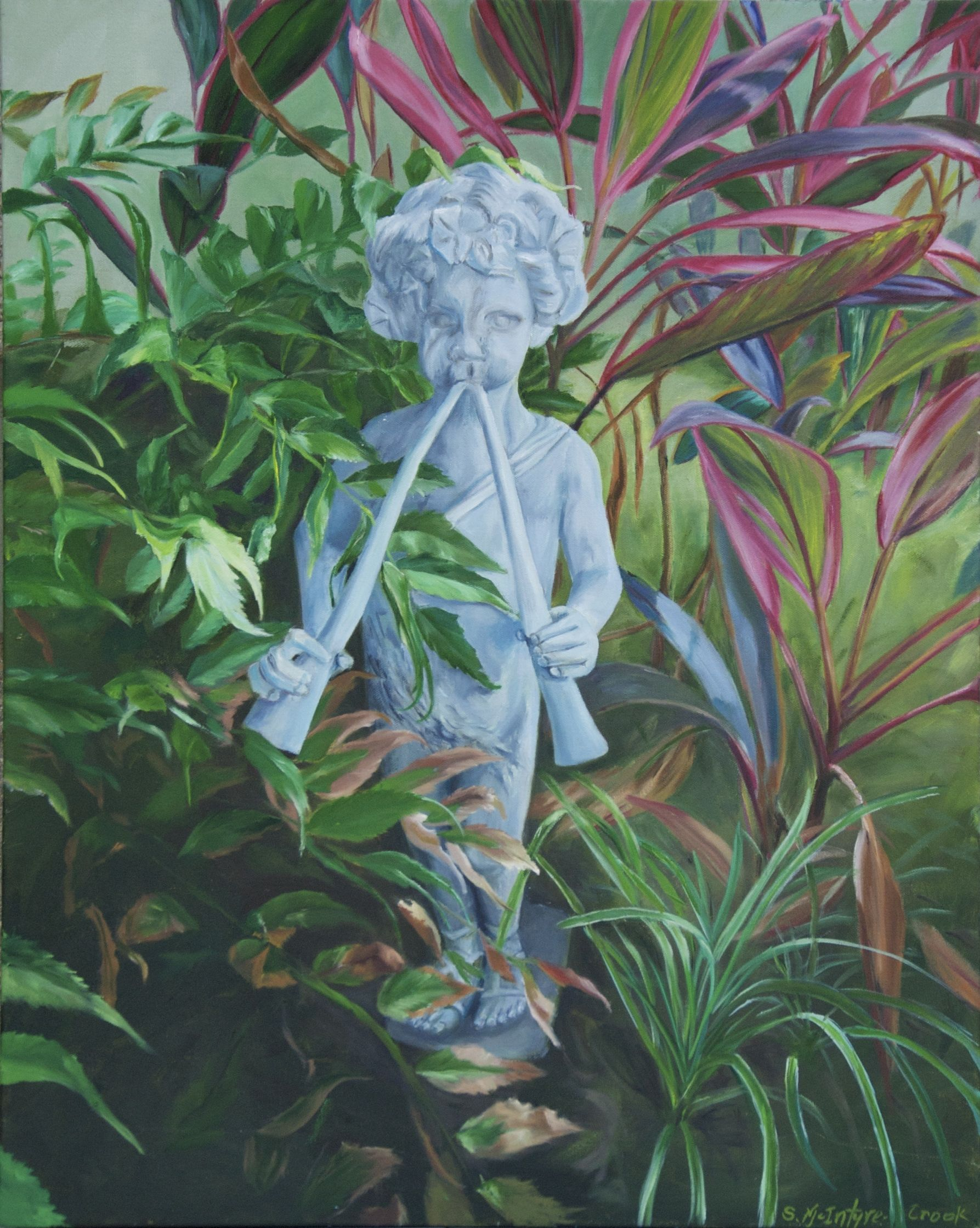 "Garden Pan  oil on canvass; 30"" x 24"" 2014  $350.00"