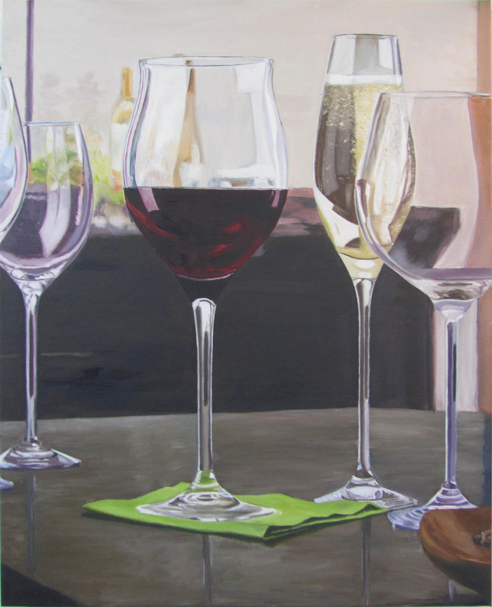 "Wine Glasses Still Life  oil on canvass; 30"" x 24""; 2013  sold  This was a study in how light hits glass and liquid."