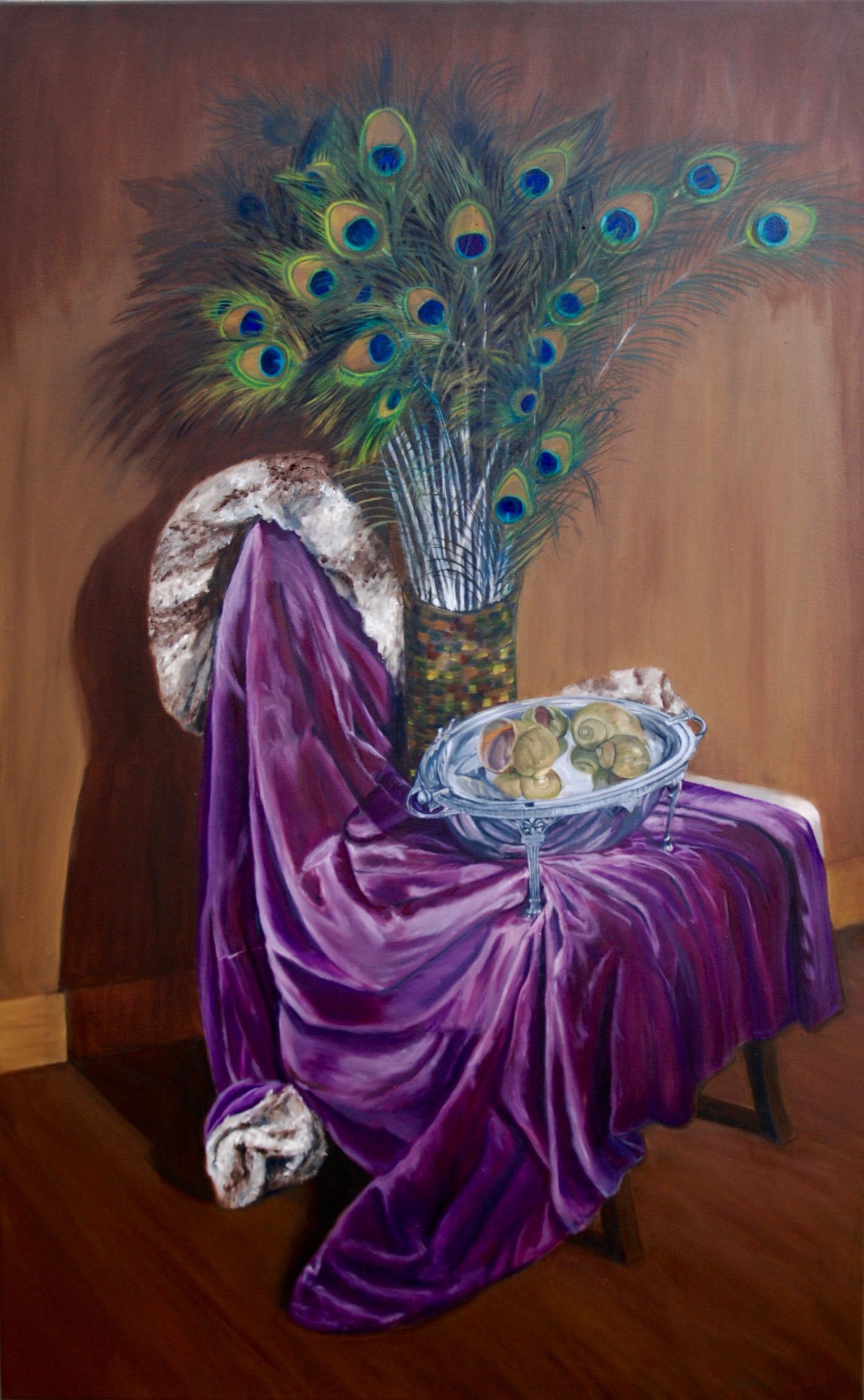 A Study in Textures / Still Life with Purple Velvet Coat  oil on canvas; 48 x 30; 2016  $800.00