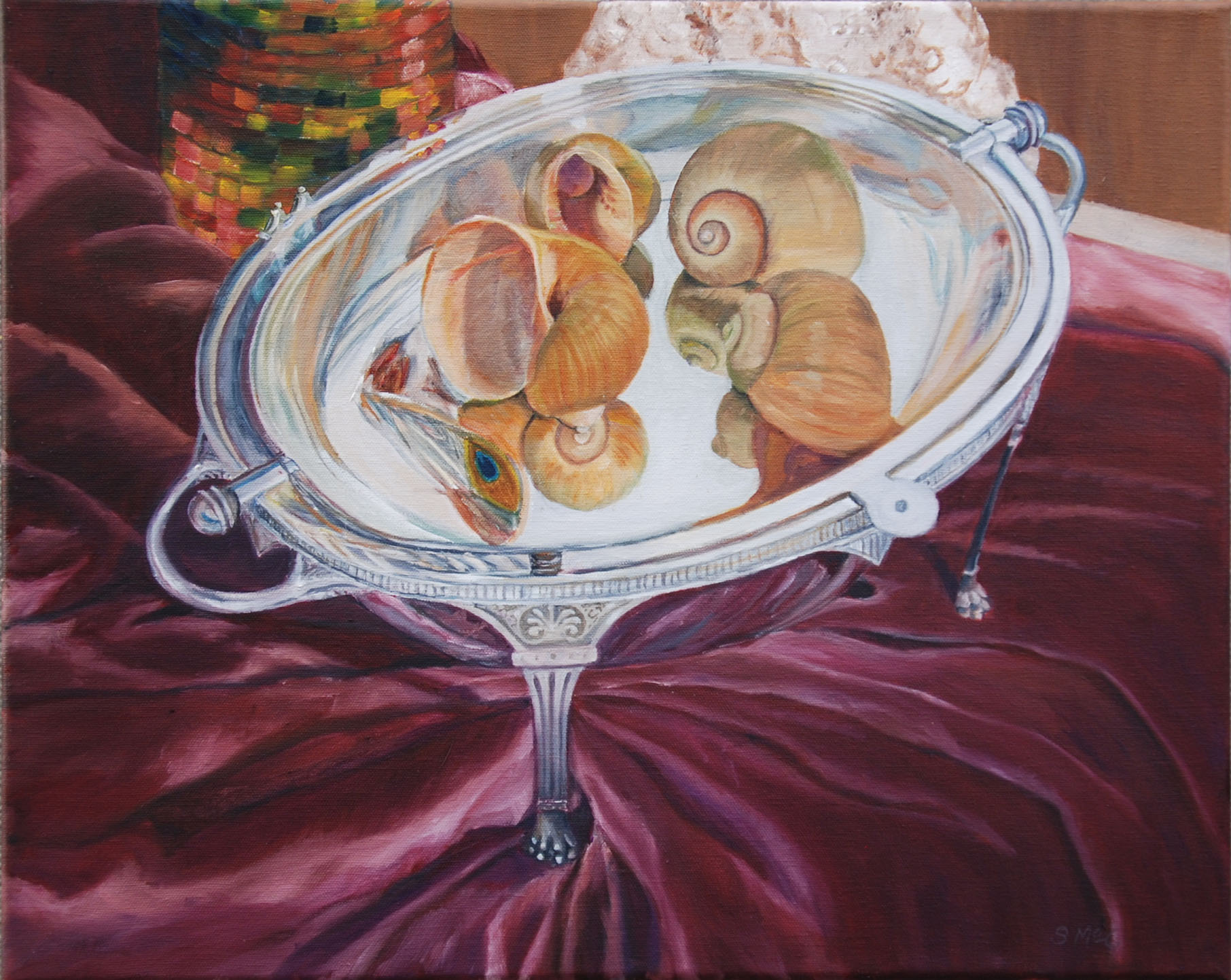 "Sill Life With Apple Snail Shells  oil on canvas; 18 x 20""; 2016  $230.00"