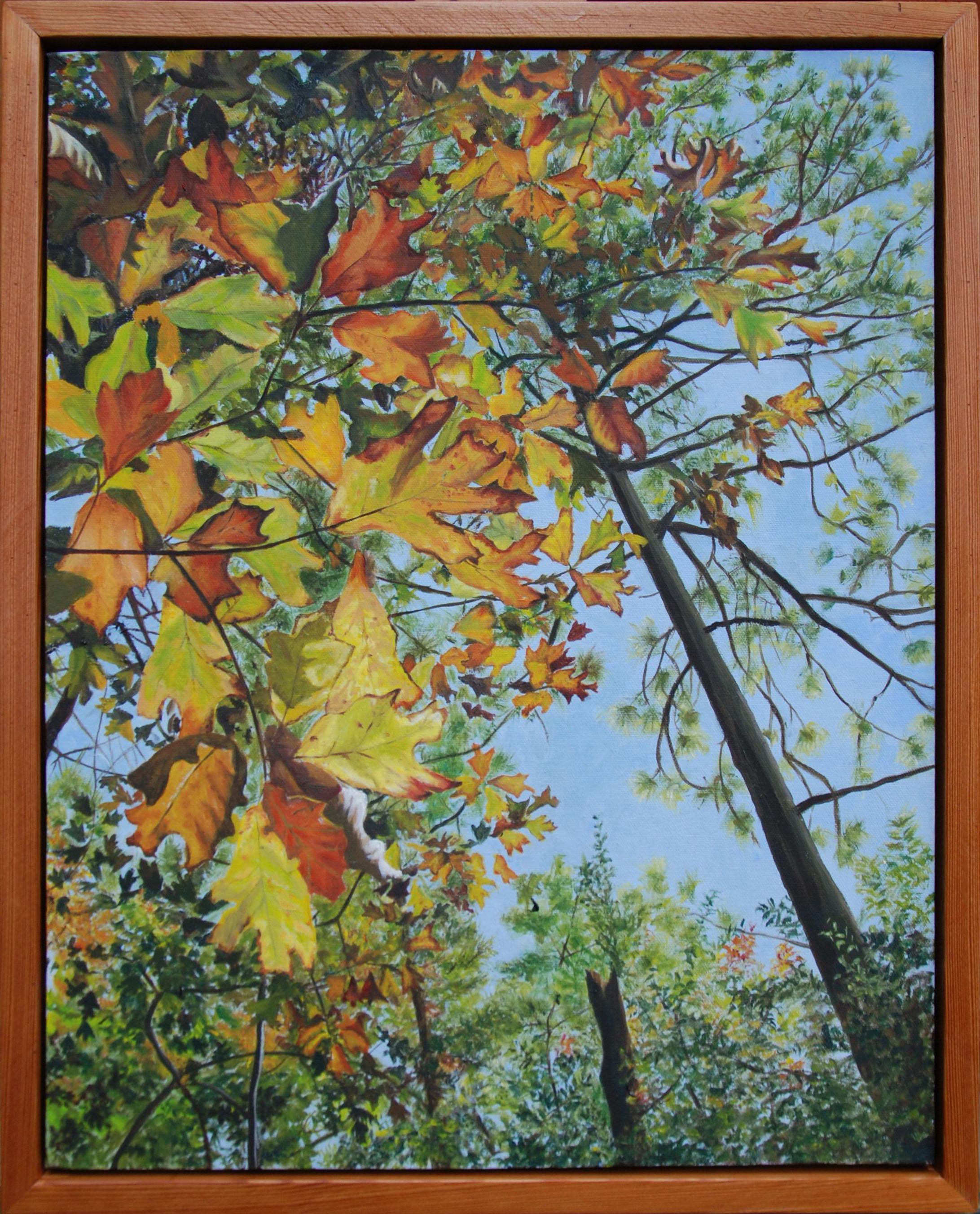 "An Autumn Walk Through San Felasco Hammock #5 of 6; Stained glass window  oil on canvas, 22 x 18""; 2010;  $400.00"