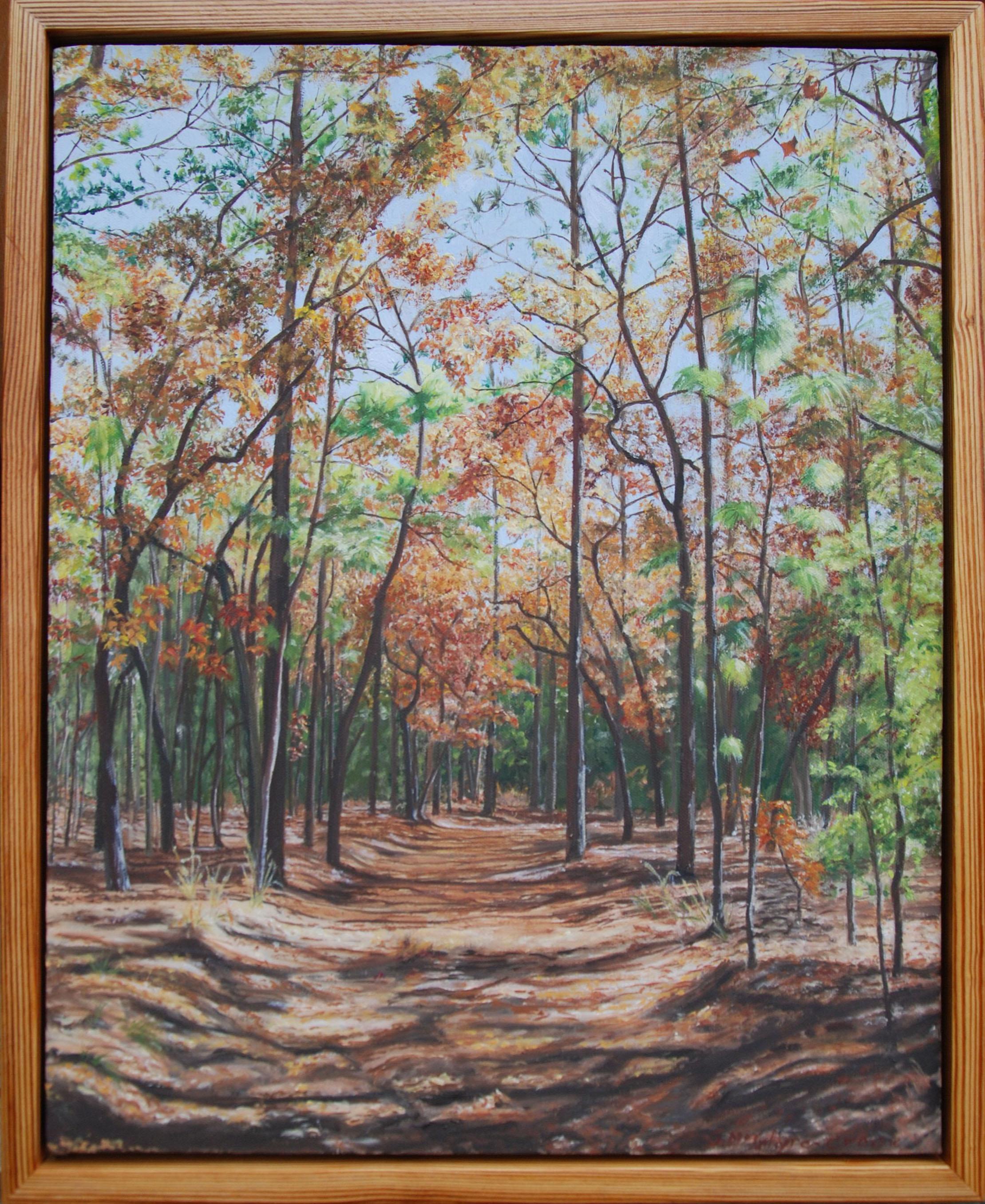 "An Autumn Walk Through San Felasco Hammock #6 of 6; Cathedral nave.  oil on canvas; 22 x 18""; 2010; sold"