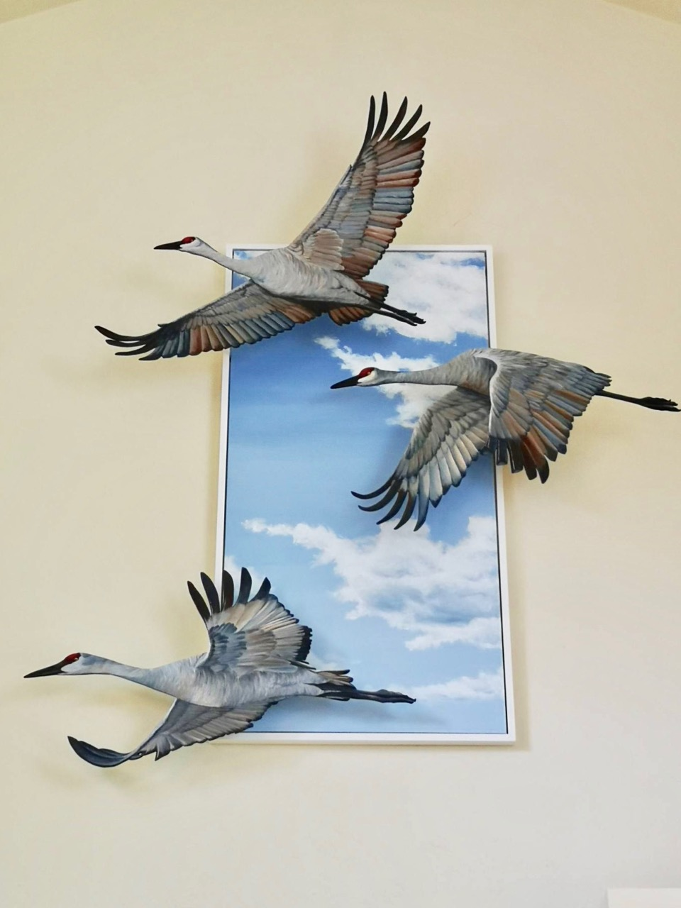 """Sandhills and Sky 1  canvas: acrylic on canvas (60""""x30""""); birds: acrylic on birch plywood (various sized approx (24-28"""" x 31-40"""") assembled: 82""""x 58""""  a comission; 2019"""