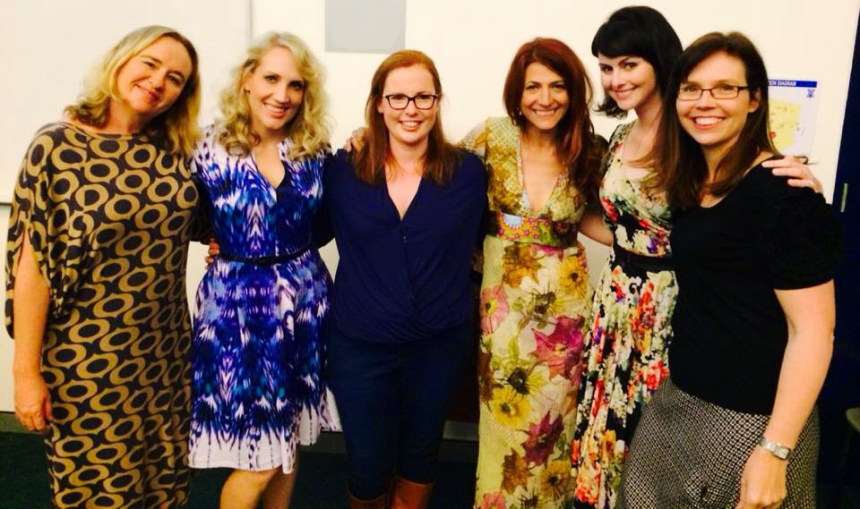Our wonderful speakers, Frances Whiting, Emily Jade, myself, Robin Bailey, Sarah Wills and Rebecca Sparrow