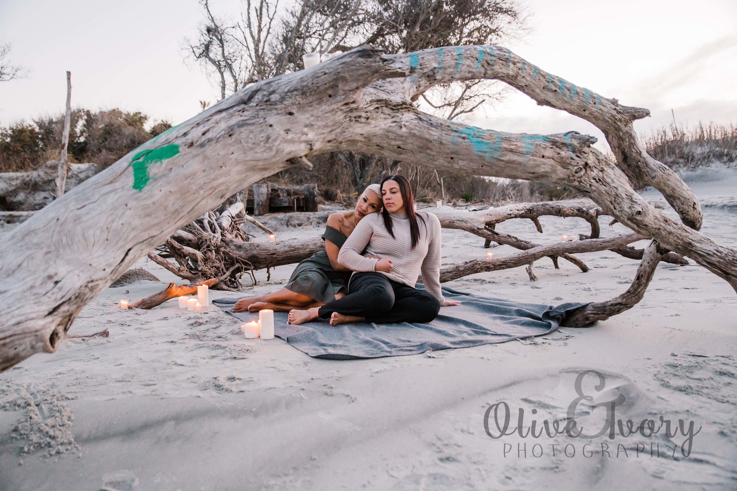 Charleston beach engagement photography