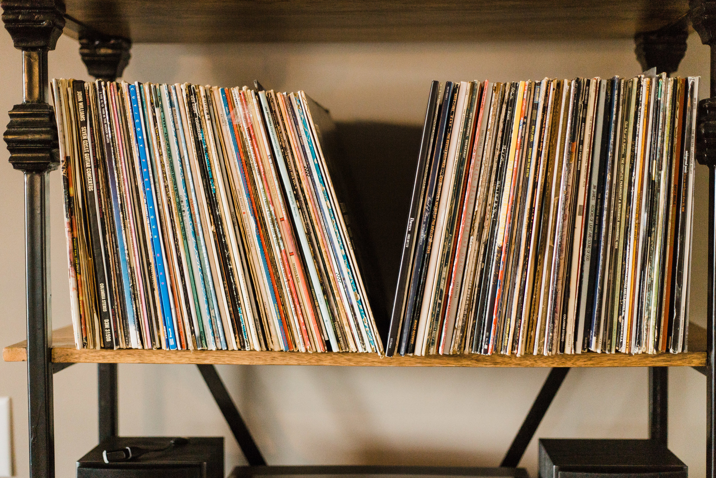 I fell in love with the vinyl shelf at her home