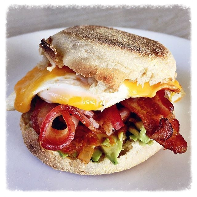 Bacon, egg and cheese sandwich with avocado.