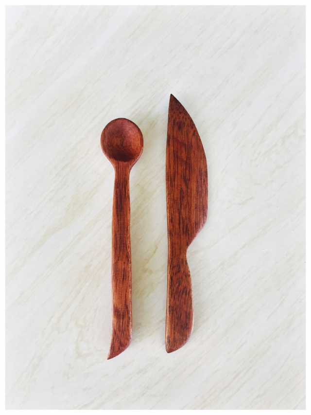 A little hand carved, wooden jam spoon and spread knife.