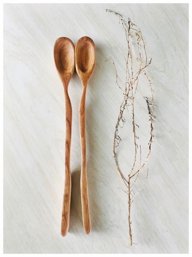 Oak Serving Spoon Set