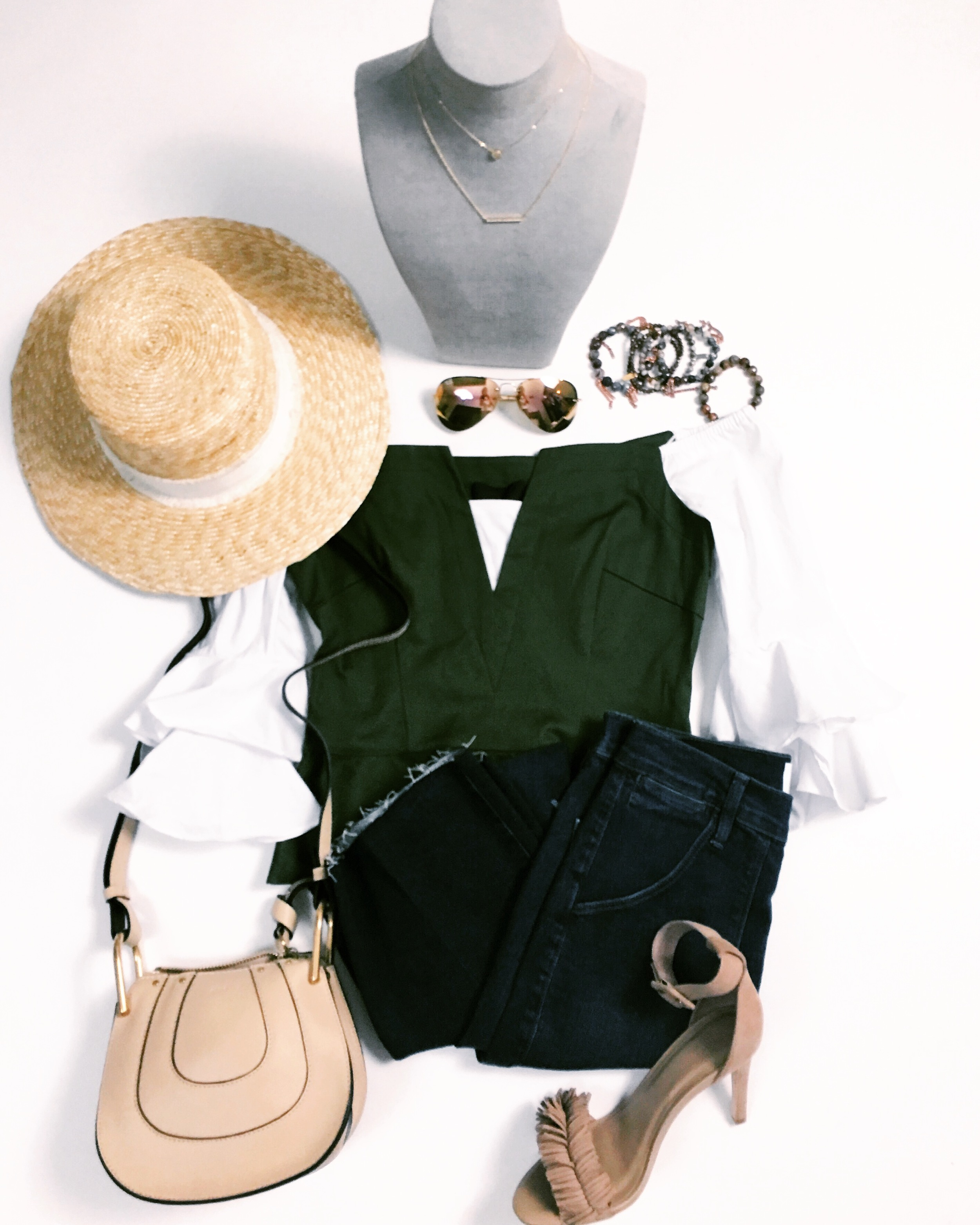 Peplum Shirt by Intermix Jewely by  a.marie  Shoes by Joi from Nordstrom Bag by Chloe Hat by Rag and Bone