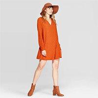 Long Sleeve V-Neck Mini Dress