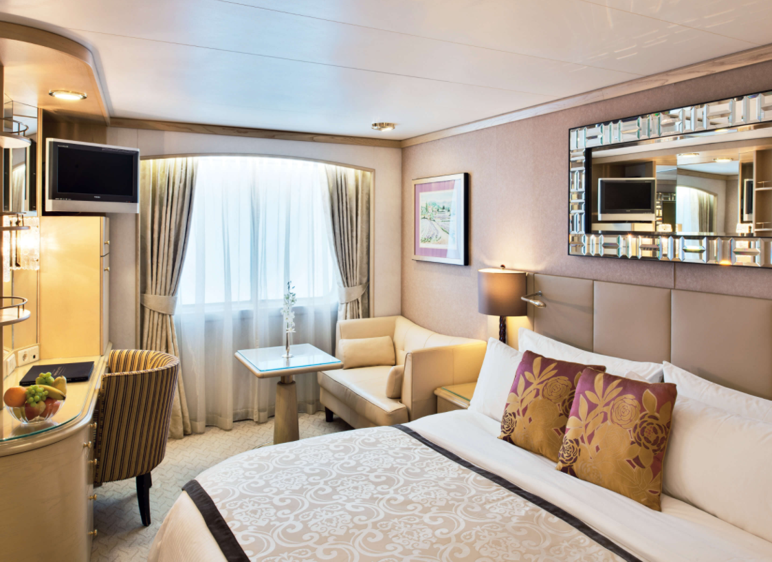 Category E and C cabins onboard the Crystal Symphony. The ship has recently undergone a multimillion dollar renovation, which features among other things new and improved staterooms.