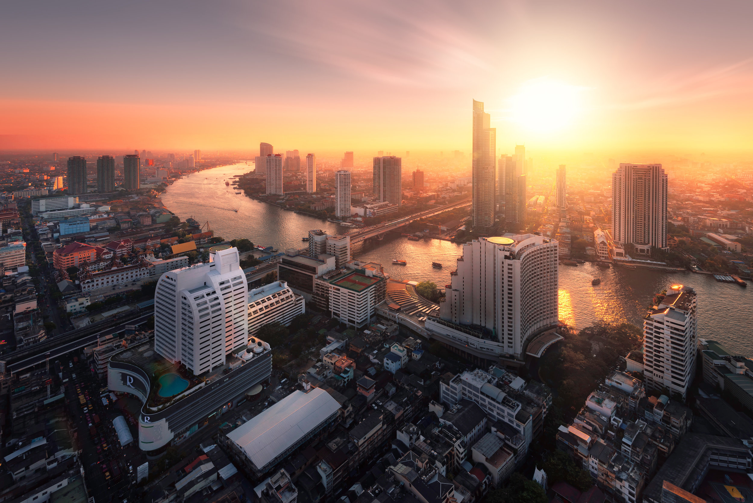 Chao Phraya River sunlight bangkok city
