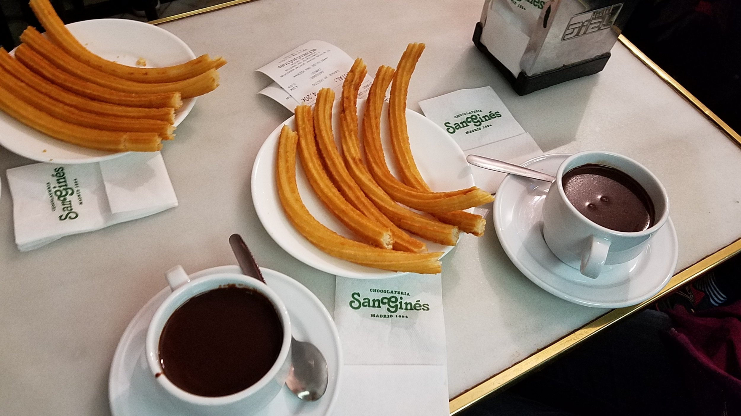 Churros con chocolate at Chocolatería San Ginés, considered to be one of the best in Madrid.