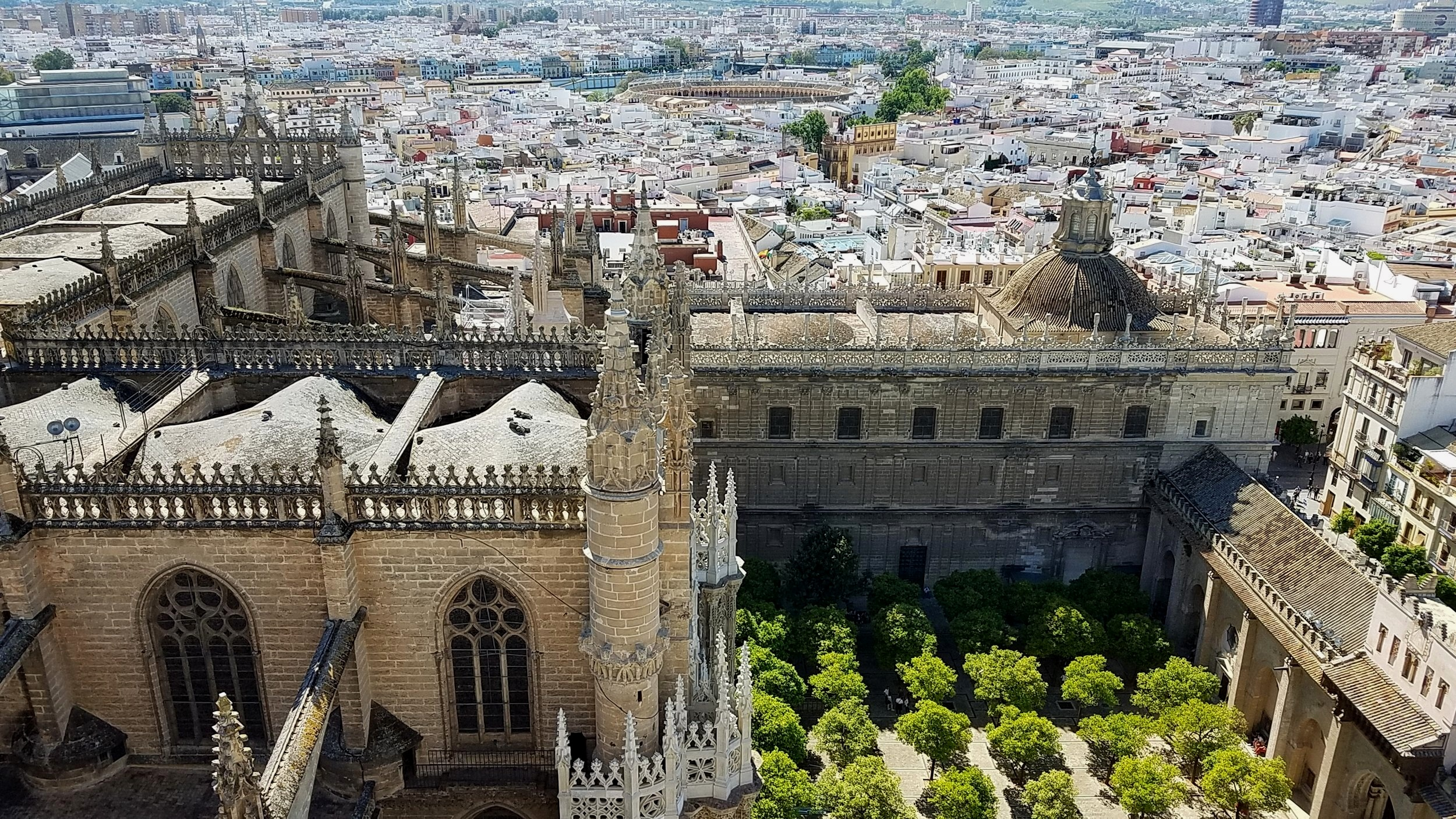 Overlooking the Cathedral of Seville from inside the Giralda, the belltower.