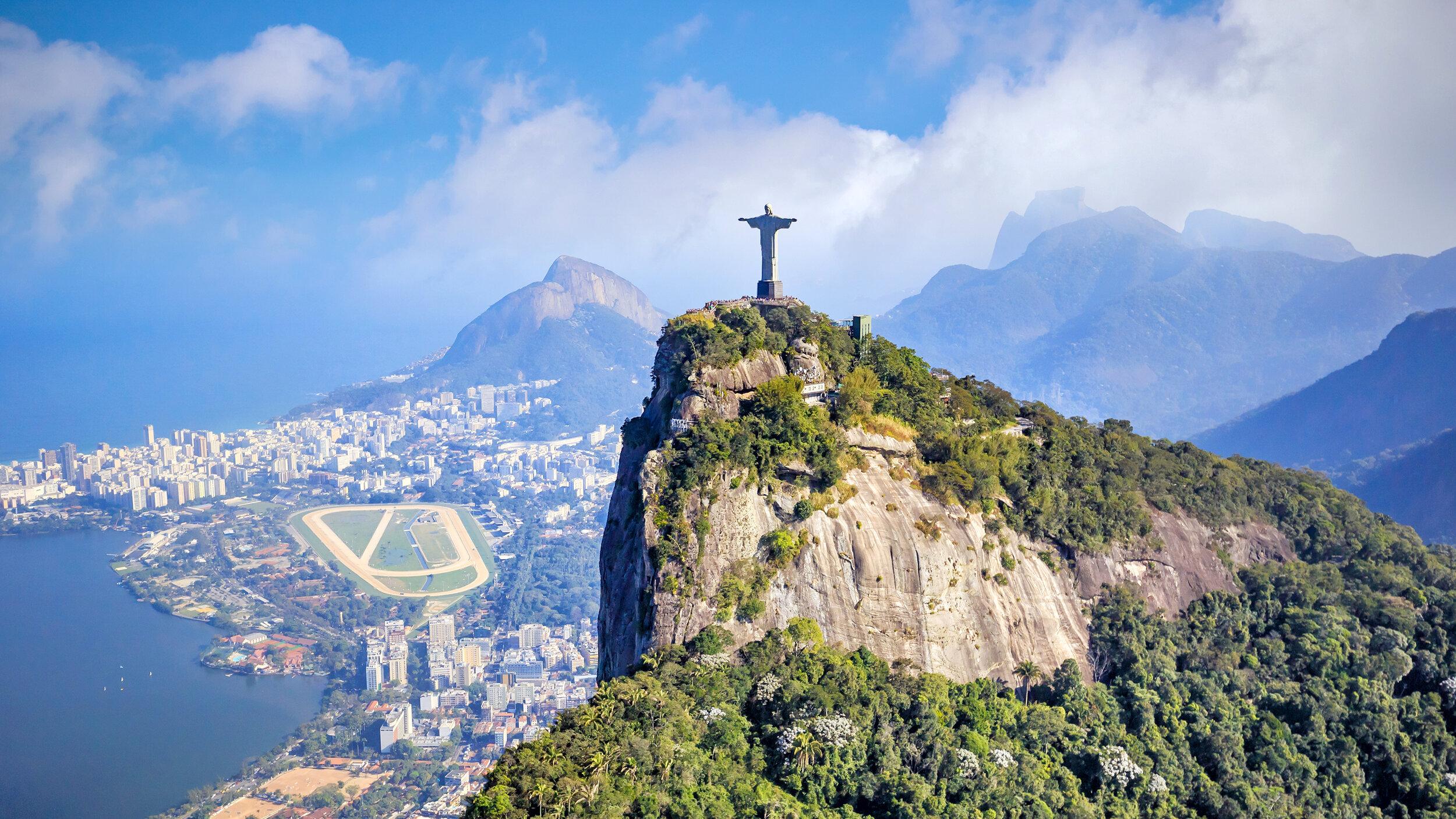 Aerial view of Rio de Janeiro city skyline in Brazil