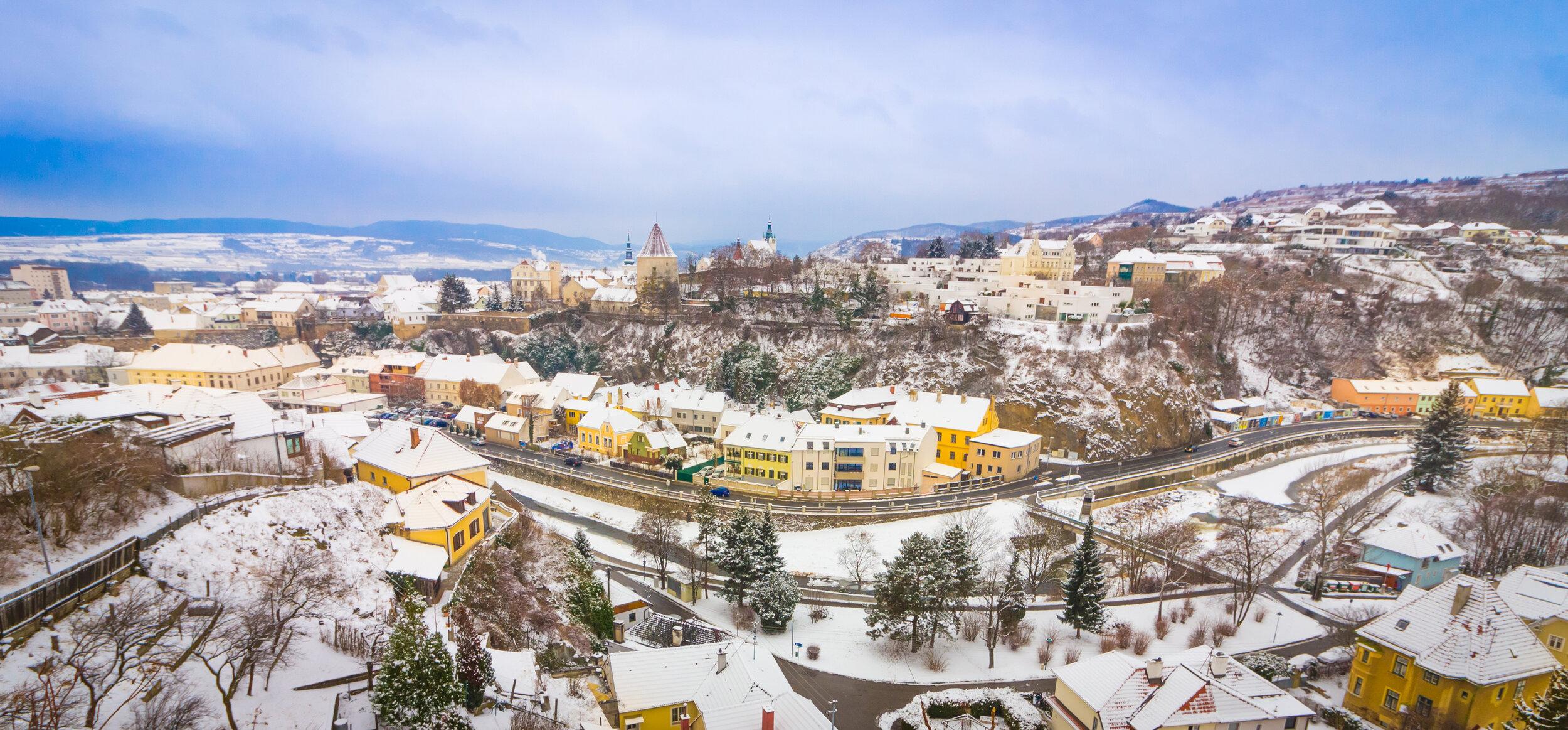 Winter panorama of Krems, Austria
