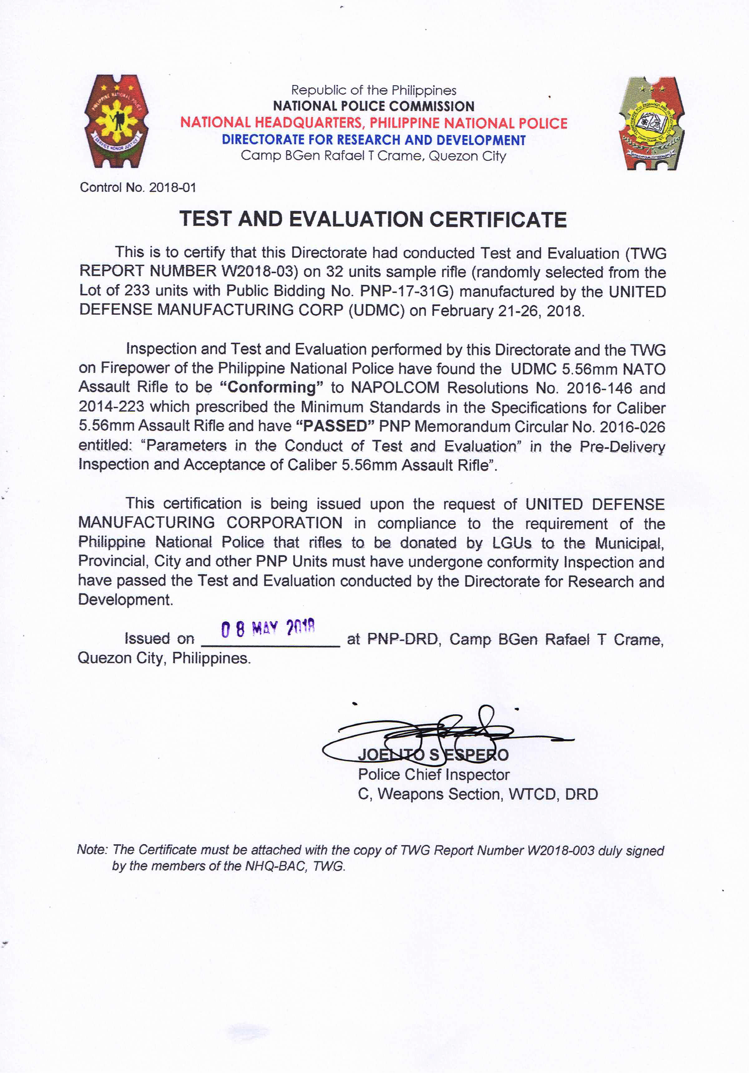 DRD_Test and Evaluation Certificate_233 units.jpg