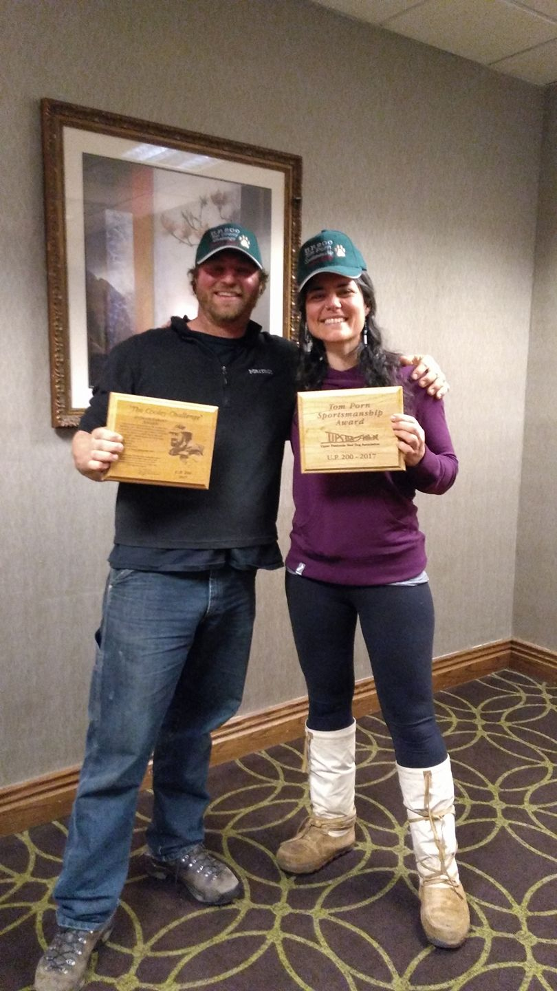 Friend and fellow musher Matt SCHMIdt, who earned the cooley award for best kept team (well-freaking deserved! finishing with all 12 dogs ready to continue!), and myself with the Porn SPORTSMANSHIP award. We took this photo for our friend Elissa gramling.