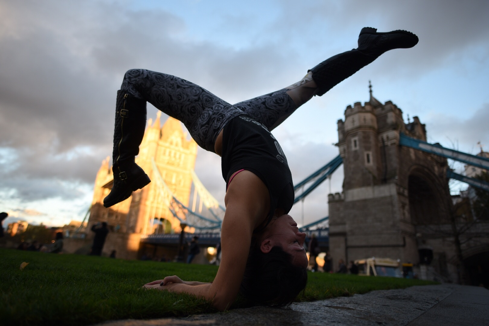A celebratory hollow back in front of Tower Bridge in London. The sun had just burst through the rain clouds. I took it as a sign.
