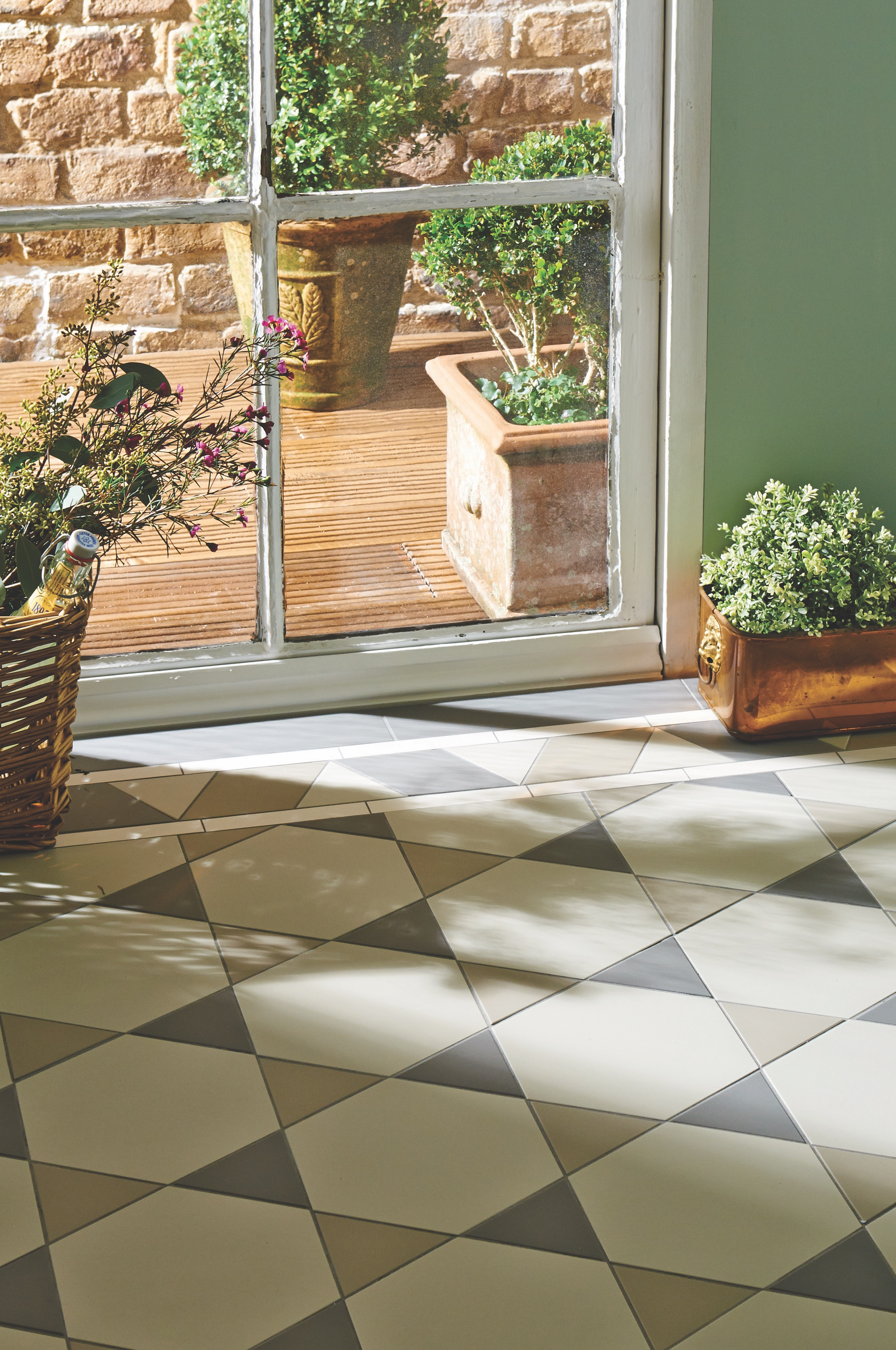 Original Style  - VFT - Hexham pattern with Rossetti border in Chester Mews, Holkham Dune and Revival Grey 2.jpg
