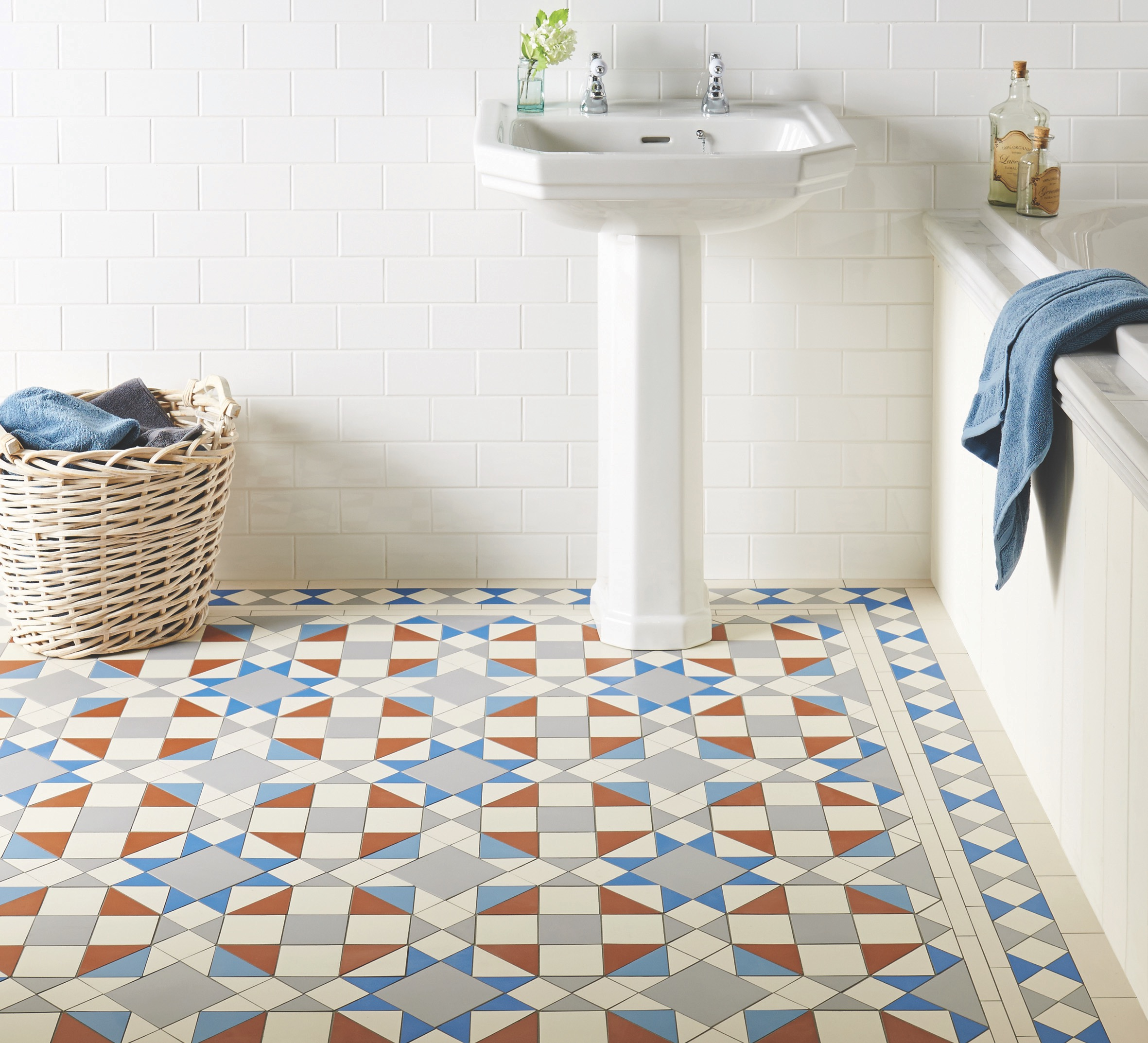 Original Style - VFT - Eltham pattern with modified Kingsley border in Grey, Red, Dover White, Pugin Blue and Blue 2.jpg