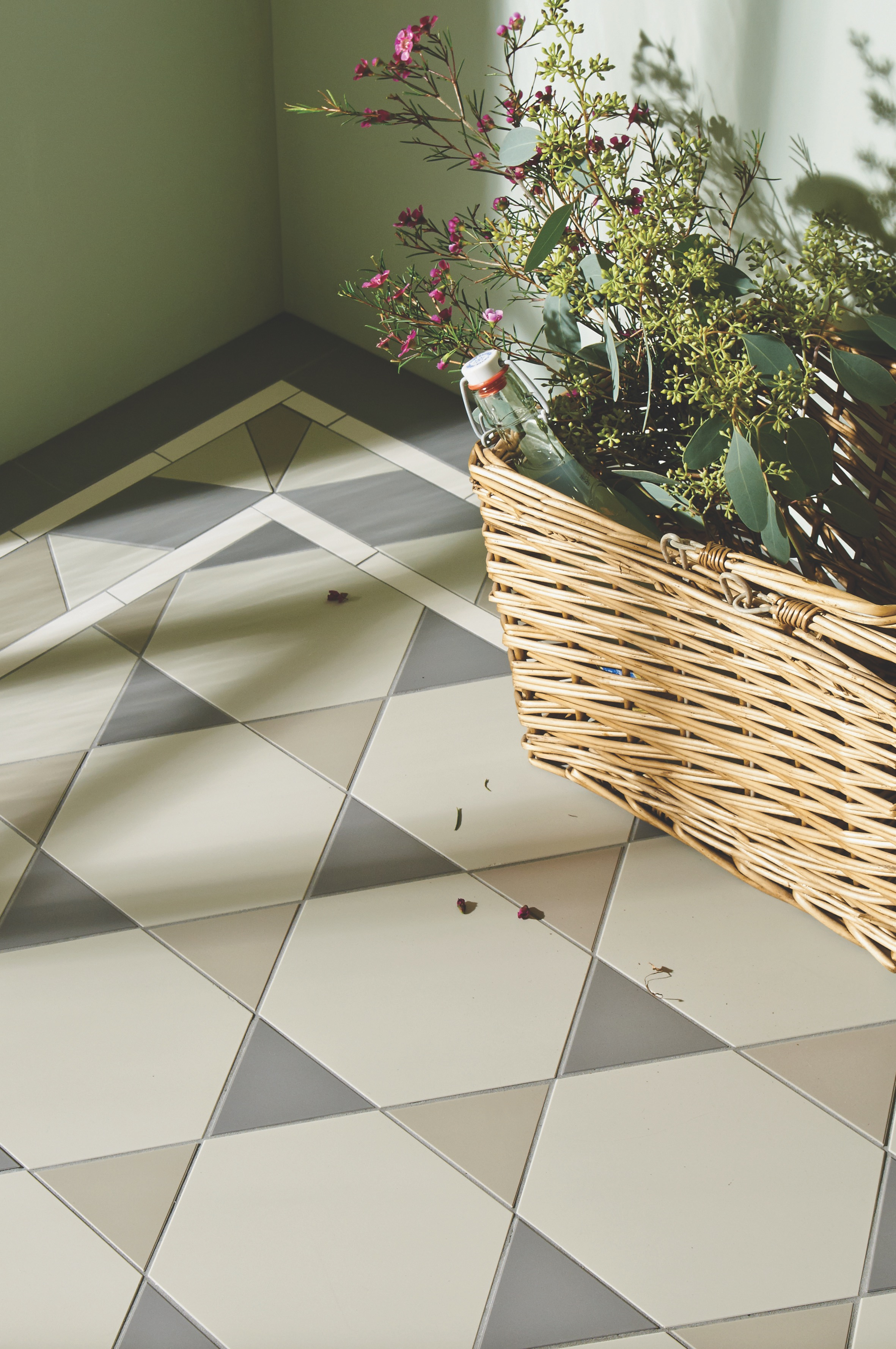Original Style - VFT - Hexham pattern with Rossetti border in Chester Mews, Holkham Dune and Revival Grey 4.jpg