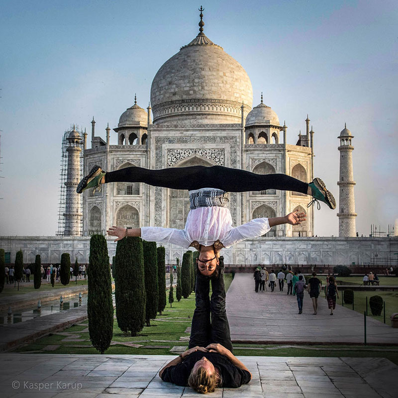 Acroyoga at Taj Mahal - not an everyday experience!