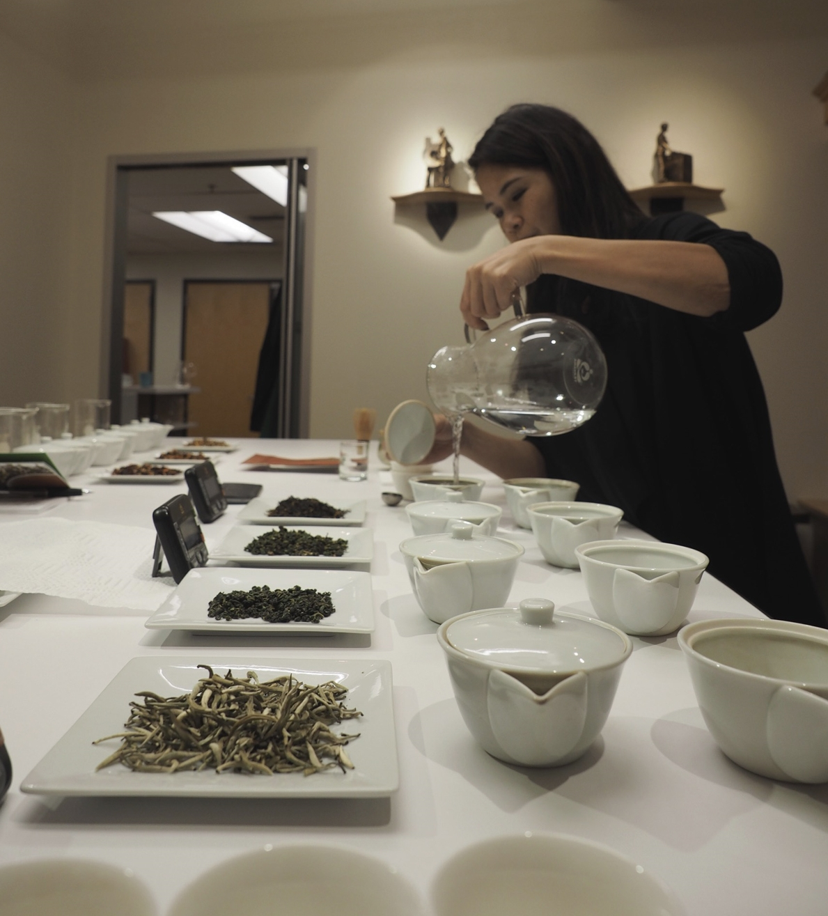 Getting started in the tea tasting room at the SSC.
