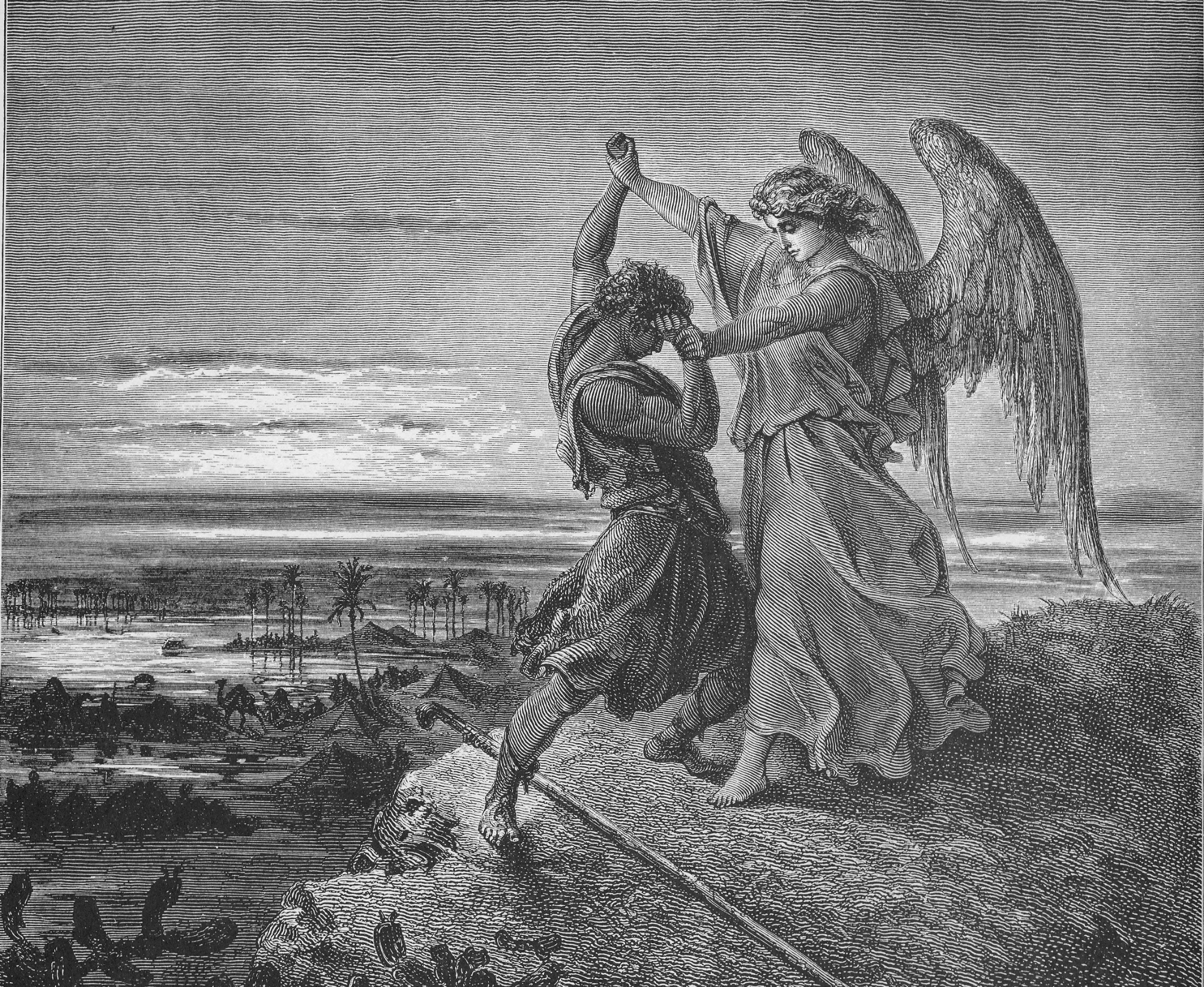 Gustave Doré ,  Jacob Wrestling with the Angel,  1855