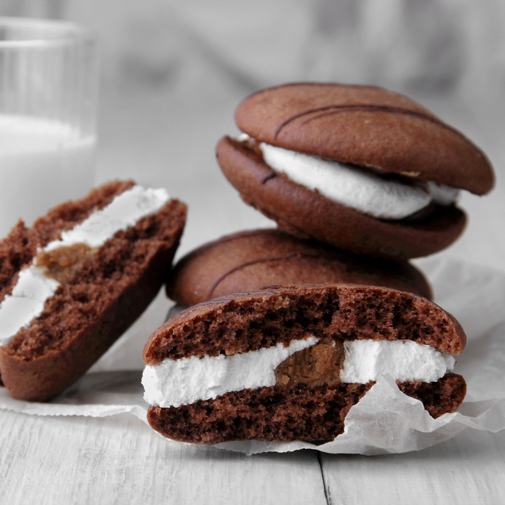 Whoopie Pies   Cake-like cookies and marshmallow frosting. Chocolate, Vanilla or Red Velvet