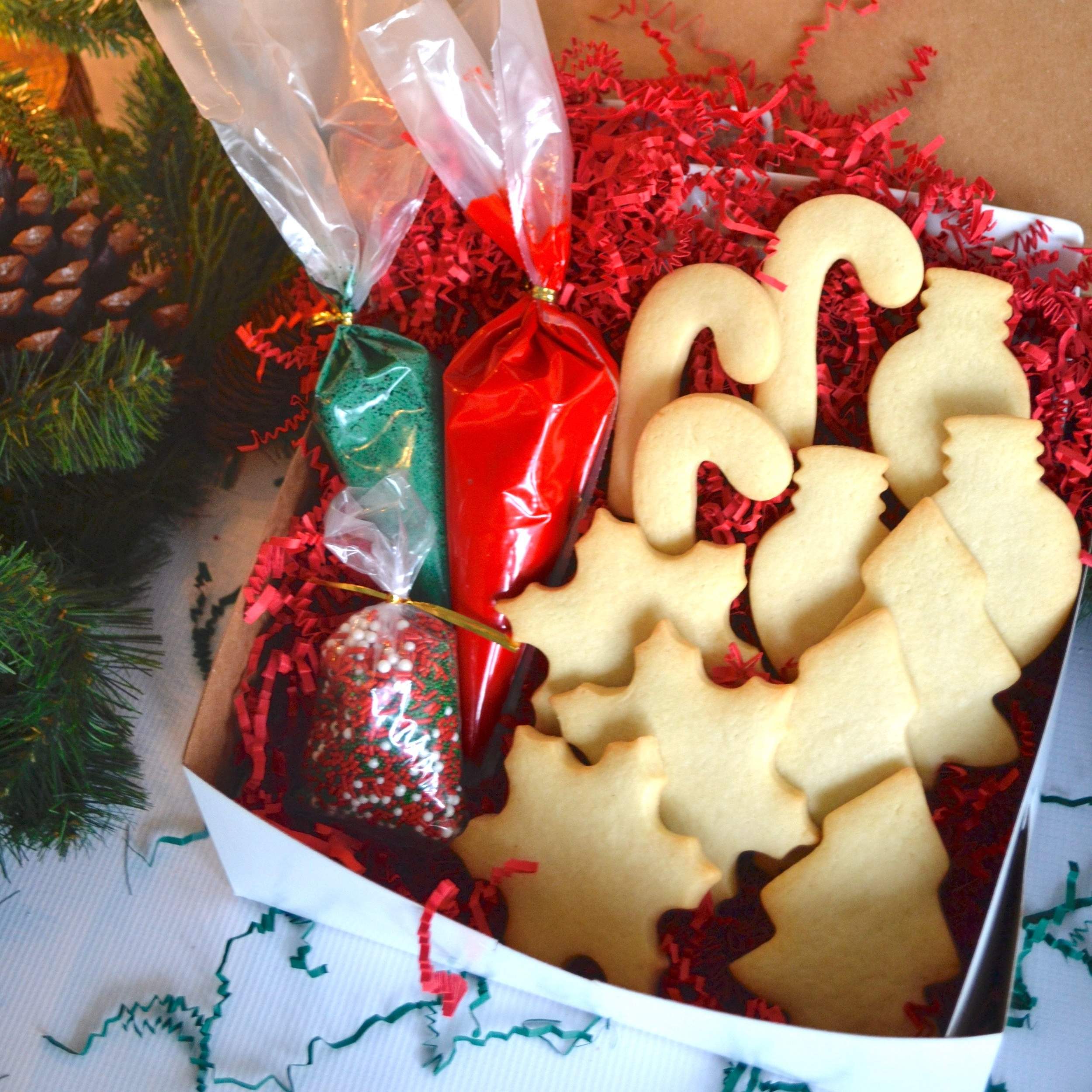 Cookie Decorating Kit   A dozen assorted cookies, icing and sprinkles.   $30