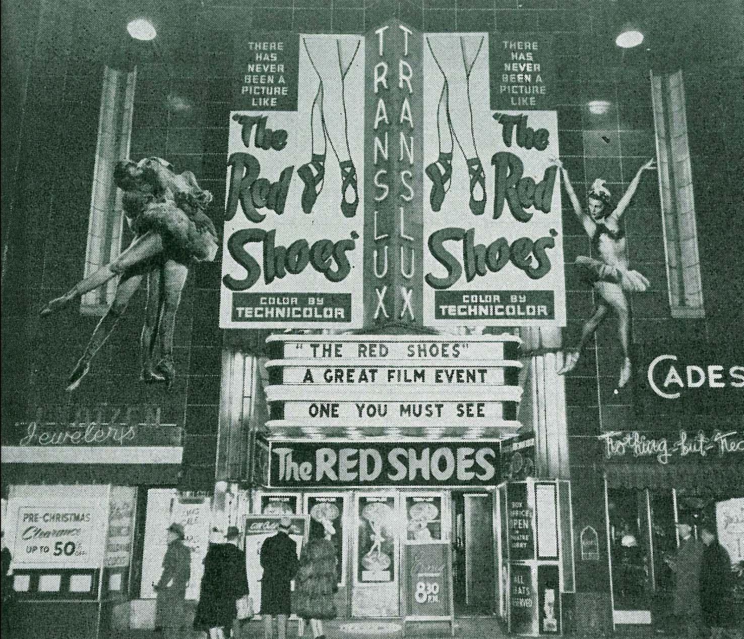 "Kinowerbung in Philadelphia 1949 für ""The Red Shoes"""