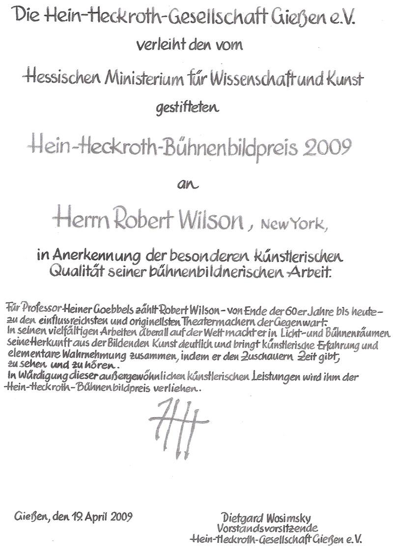 Urkunde Robert Wilson