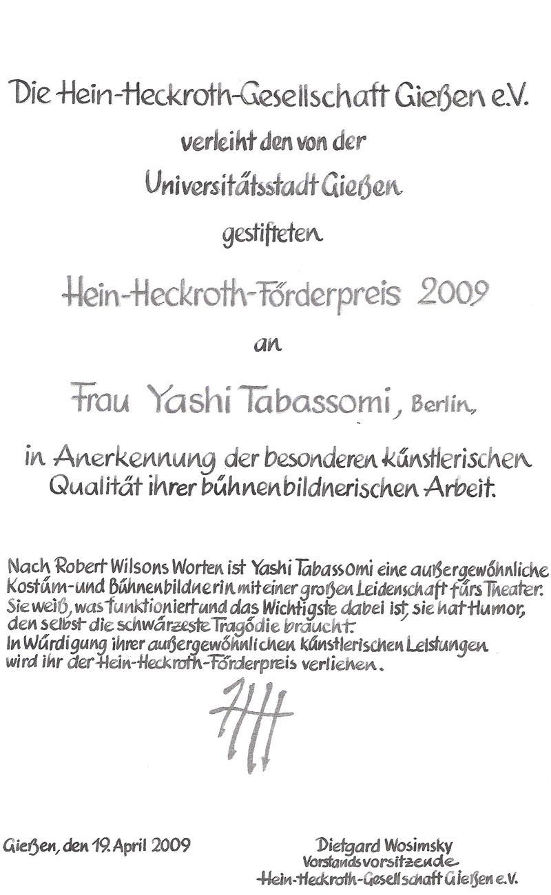Urkunde Yashi Tabassomi