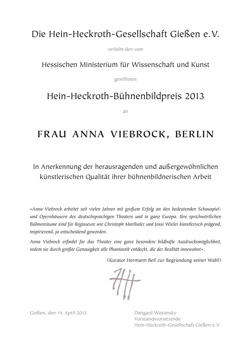 Urkunde Anna Viebrock