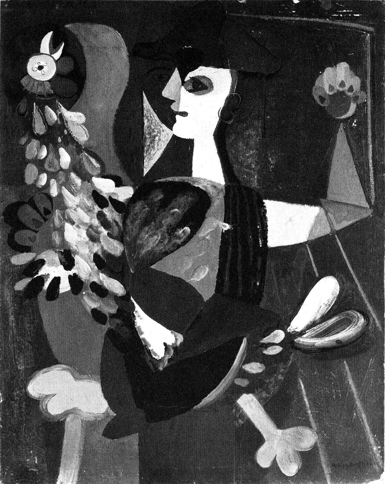 9 Hein Heckroth, Harlekin mit Hahn, 1935, Öl auf Pappe, 88 × 69 cm (Gabler 1977, Kat.-Nr. 9)