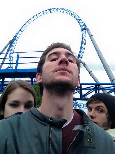 Sam looking cool, with Paris and I slyly behind him, framed by the Blue Fire Loop.