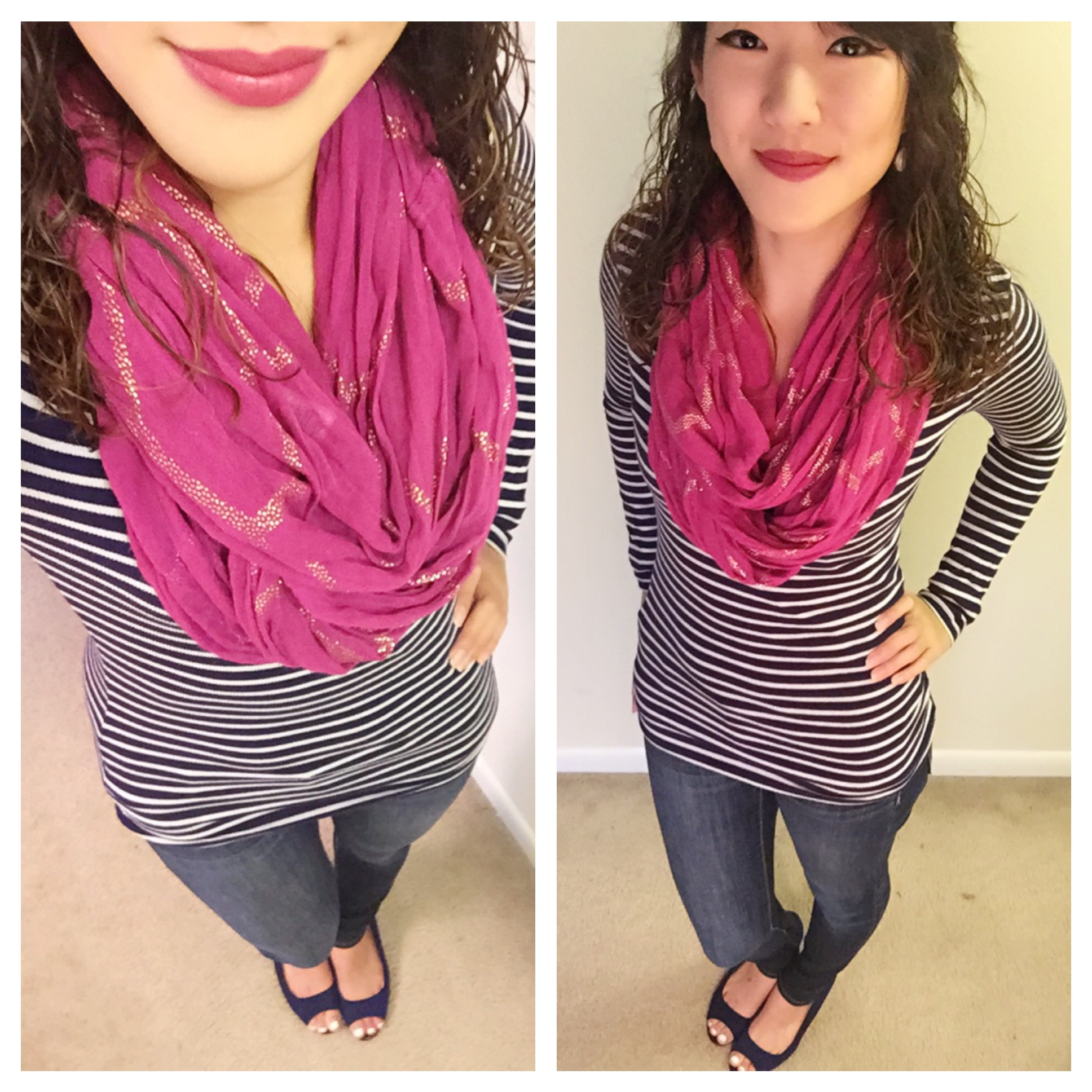 Shirt: Old Navy / Scarf: Target / Jeans: American Eagle / Shoes: Payless / Earrings: Charming Charlie's / Lipstick: Bellapierre